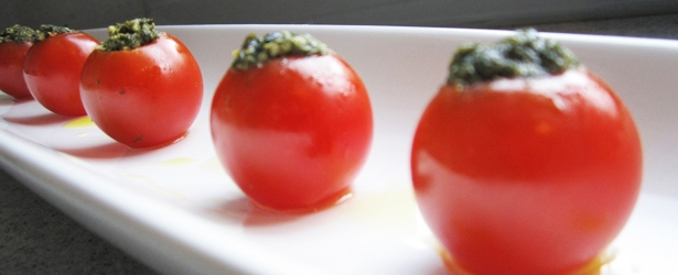 Pesto-Stuffed Cherry Tomatoes