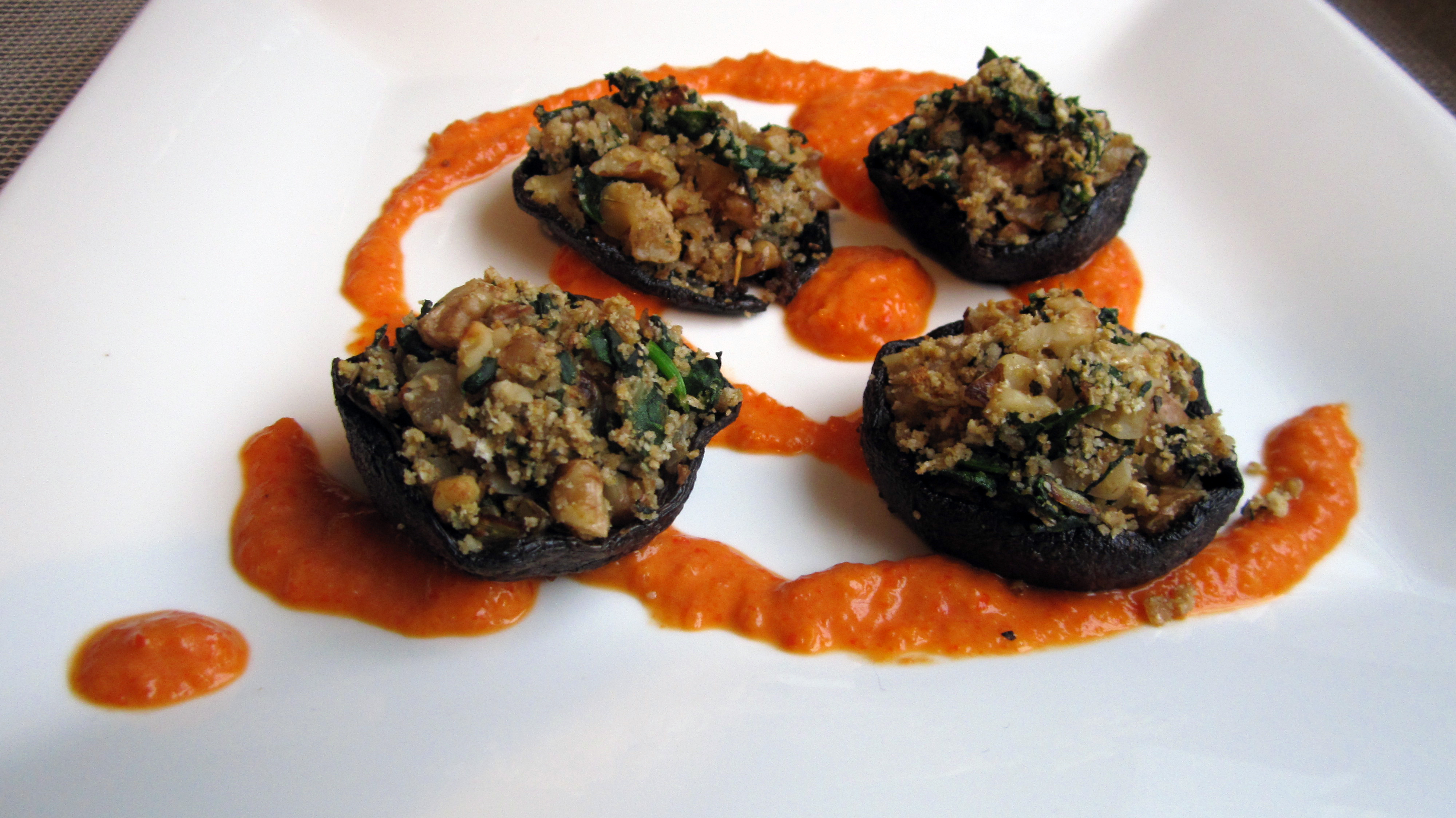 Stuffed Portobello Mushrooms W/ Roasted Red Pepper Coulis ...