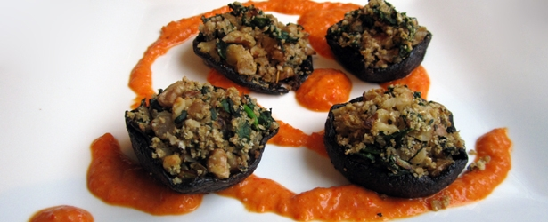 Stuffed Portabello Mushrooms w/ Roasted Red Pepper Coulis