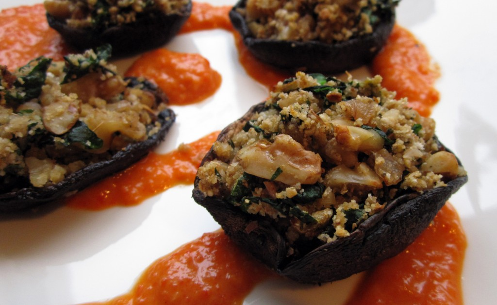Stuffed Portobello Mushrooms w/ Roasted Red Pepper Coulis - Vegan & Gluten-Free