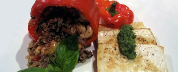 Quinoa-Stuffed Peppers & Macadamia Pesto