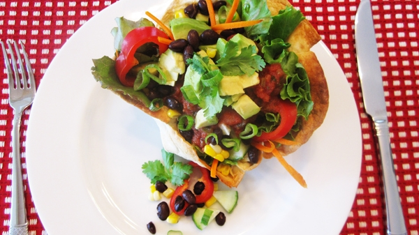 Vegan Taco Salad with Homemade Tortilla Bowls