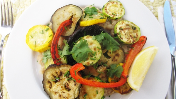 Grilled Mediterranean Veggies with Bean Mash