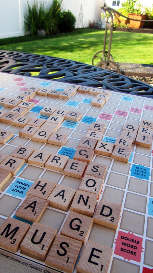 Playing Scrabble in the yard