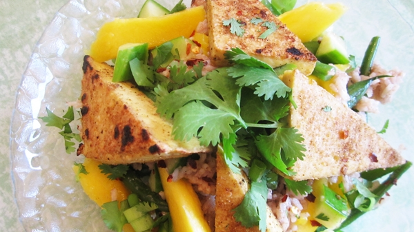 Tofu, Mango, Cucumber and Coconut Rice Salad
