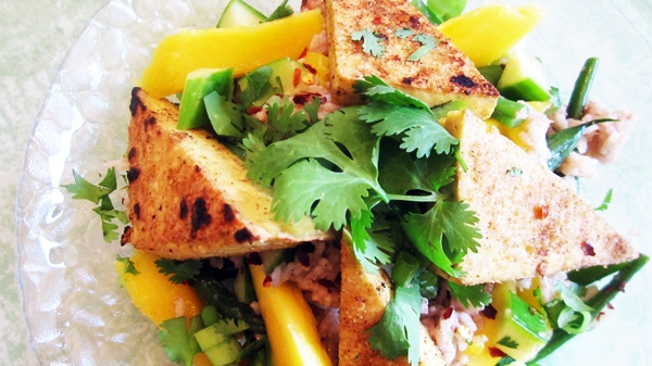 Coconut Rice Salad with Mango, Cucumber and Spicy BBQ Tofu - Vegan and Gluten-Free
