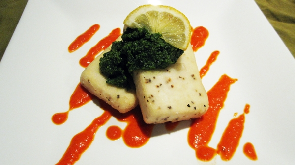 Vegan Elegant Salt & Pepper Tofu with Cilantro Pesto and Red Pepper Coulis