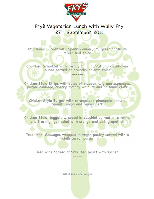 Fry's Vegetarian Lunch with Wally Fry - Menu