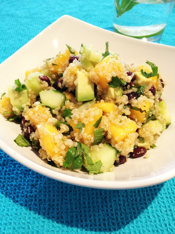 Refreshing Quinoa Salad with Mango, Cucumber, Avocado & Black Beans (Vegan, Gluten-Free)