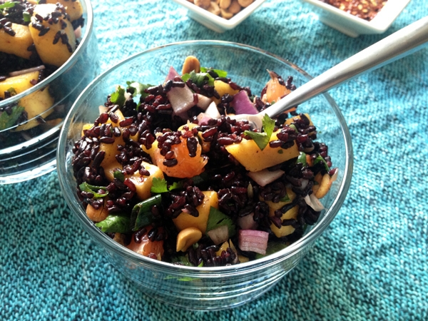 Black Rice Salad with Mango and Peanuts, Vegan / Gluten-Free