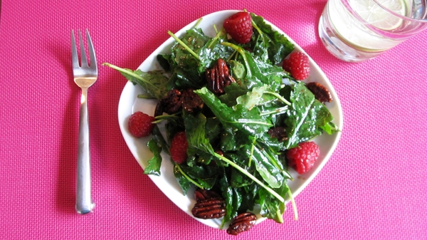 Baby Kale Salad with Raspberries & Maple Pecans - Vegan & Gluten-Free