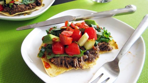 Refried Bean Tostadas - Vegan & Gluten-Free